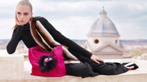 Cara Delevinge for Fendi ad campaign 2013 by karl lagerfeld