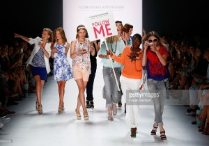 A model walks the runway at the Guido Maria Kretschmer show during the Mercedes-Benz Fashion Week Berlin Spring/Summer 2016 at Brandenburg Gate on July 8, 2015 in Berlin, Germany.